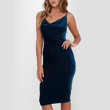 Blue Velvet Cami Sheath Dress
