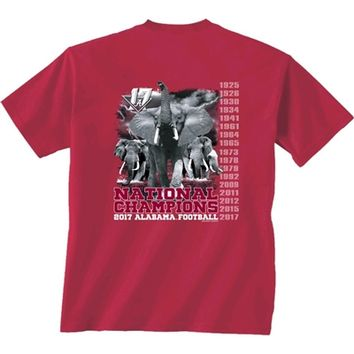 Alabama Crimson Tide Football 2017 National Champions T-Shirt | Alabama 17th National Champions T-Shirt | BAMA National Champions T-Shirt