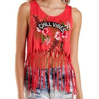 Chill Vibes Fringe Graphic Crop Top by Charlotte Russe