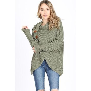 Cool Night Criss Cross Sweater -  Light Olive
