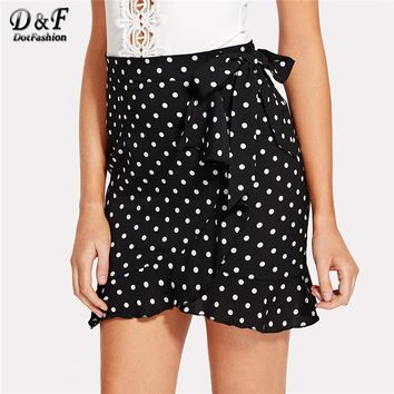 Dotfashion Knot Side Ruffle Trim Skirt Black and White  Above Knee Length Bottom Ladies Spring Summer Polka Dot Elegant Skirt