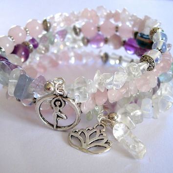 Meditation Memory Wire Bracelet, Yoga Jewelry, Spiritual, Moonstone, Fluorite, Rose Quartz, Clear Quartz, Ohm, Lotus and Yoga Goddess Charms