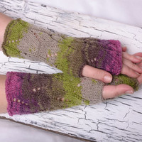 knit fingerless gloves, knitting accessories, hand warmers, wrist warmers, hand knit gloves, mittens, arm warmers, green purple