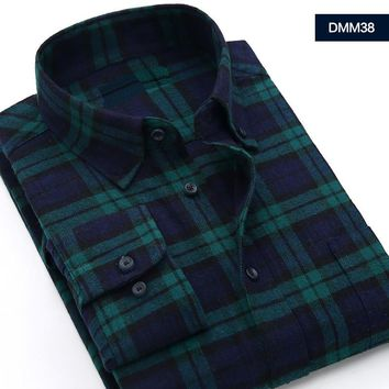 Spring Fall New Mens Casual Plaid Shirts Long Sleeve Slim Fit Comfort Soft Flannel Cotton Shirt Leisure Styles Man Clothes