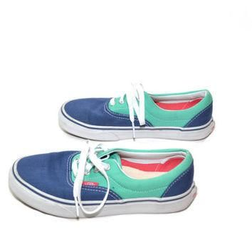 Vans Tennis Shoes Vans Sneakers Blue and Green Vans Canvas Tennis Shoes 90s Vans Size
