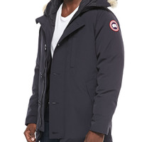 Chateau Parka w/Fur Trimmed Hood, Navy, Size: