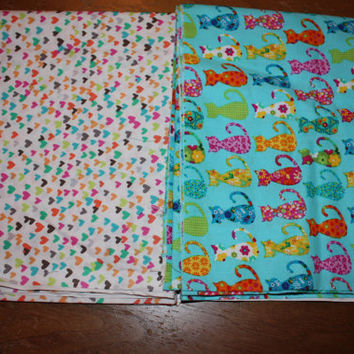Michael Miller Calico Cat and Hearts O Plenty, one yard of each fabric.