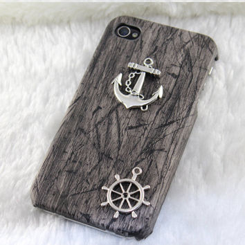 Vintage silver anchor & rudderPU leather Black by BeautyandLuck