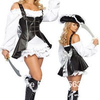 Pirate Fancy Dress Costume Womans Outfit HalloweenLadies Black Brown Leather Pirate Fancy Dress Costume