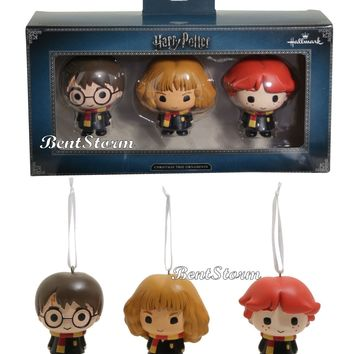 Licensed cool Hallmark Harry Potter Chibi Ron Harry & Hermione Christmas Holiday Ornament Set