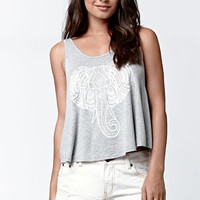 LA Hearts Elephant Scoop Neck Tank Top - Womens Tee - Gray