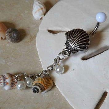 Sea Shell Belly Button Ring With Shells and Pearls Body Jewelry