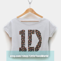 One Direction Crop Top Tee Shirt 1D Flower Floral White Tshirt for Girl or Woman Clothing T shirt LTW008