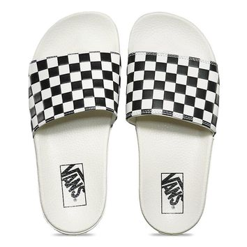 VANS - WOMENS SLIDE-ON - CHECKERBOARD WHITE/BLACK