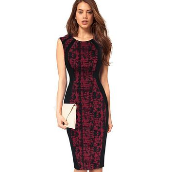 Vfemage Womens Elegant Print Optical Illusion Slim Tunic Contrast Patchwork Work Office Casual Party Club Fit Pencil Dress 2018