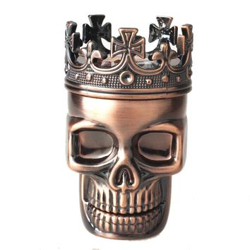 New Arrival Classic Hot King Skull Metal Tobacco Herb Spice Grinder 3 Layers Crusher Hand Muller