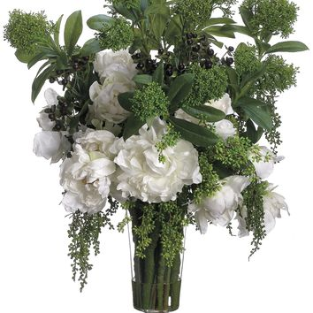 Lifelike White Peony & Skimmia Floral Arrangement in Footed Glass Vase