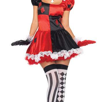 Puff Sleeve Harlequin Clown Mini Skater Costume Set