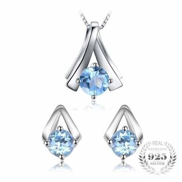 Genuine Sky Blue Topaz Pendant Necklace and Stud Earrings Women Jewelry Sets