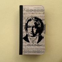 Beethoven sheet music iPhone 4 5C/6 leather wallet Samsung wallet case flip case