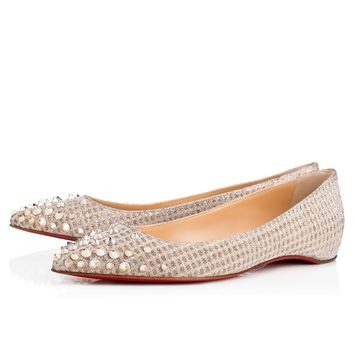 Spikyshell Flat Nude/White Gold Fabric - Women Shoes - Christian Louboutin