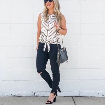 Striped Sleeveless Button Down Tie Front Top