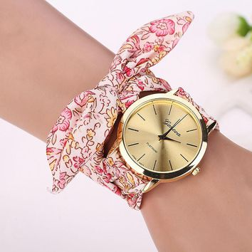 Smilelee reloj mujer Womens Girl Floral Jacquard Cloth Quartz Dial Bracelet Wristwatch fabric Watch