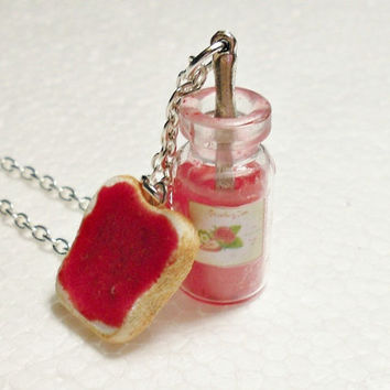 Jar of Strawberry Jam Pendant Polymer Clay by GiraffesKiss on Etsy