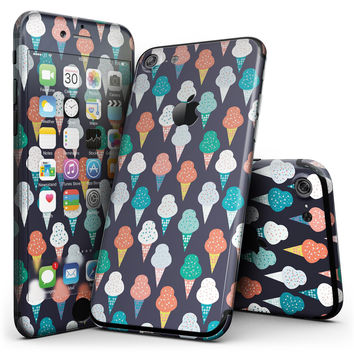 The All Over Teal and Green Ice Cream Cones - 4-Piece Skin Kit for the iPhone 7 or 7 Plus