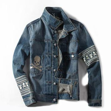 Italian Style Retro Design Men Jacket Skulls Painting Fashion Street Denim Jacket Men Coat Vintage Outerwear Man Brand Clothing - Y0040, XXL