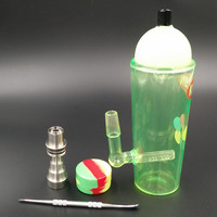 20CM Green glass bongs with Domeless Titanium nail Faberge oil rigs glass bongs Recycler Filter Percolators Smoking jiont 14.4MM