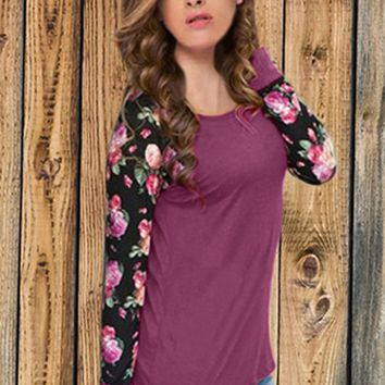 Casual Floral Printed Long Sleeve Sweat Shirt