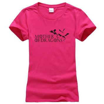 """Pink and Black """"Mother of Dragons"""" Women's Game of Thrones cotton T-shirt"""
