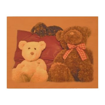 Vintage Teddy Bears Caramel Wood Wall Decor