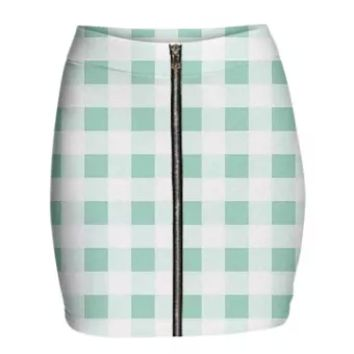 MINT GREEN GINGHAM Mini Zip Skirt
