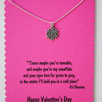 Ed Sheeran Valentine's Snowflake Necklace with Wake me Up Lyrics