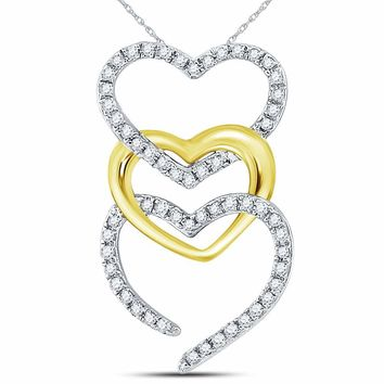 10kt Two-tone Gold Womens Round Diamond Triple Cascading Heart Pendant 1/6 Cttw