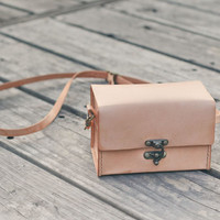 Classy Hand Stitched nude color leather camera case for by BySen