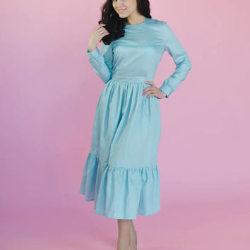 Romantic and elegant blue frilled dress, buttons on the back, built in belt, decorated by unique antique lace, long sleeves, midi