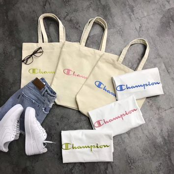 Champion Two-sided Logo Canvas Shopping Shoulder Bag