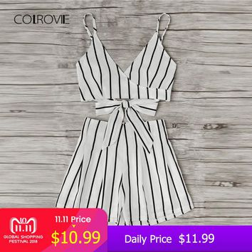 COLROVIE Stripe Surplice Bow Tie Open Back Crop Cami Top With Shorts Set 2018 Summer V Neck Women Suits Beach Two Piece Set