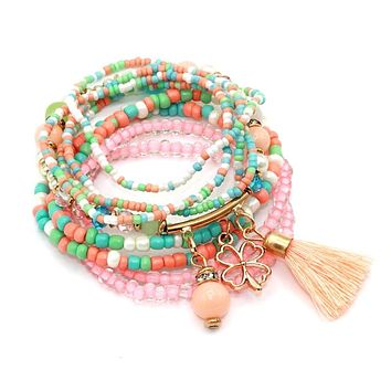 Seed Beads Tassel Stretch Bracelets