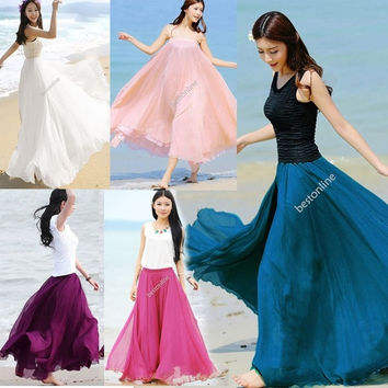 Fashion Maxi Long Bohemian Restore Women Shinning Chiffon Beach Long Skirt 10 Colors