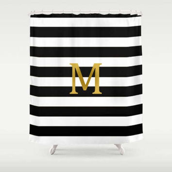 Custom Personalized Gold Monogrammed Black White Stripe Shower Curtain Your Initial  Home Bathroom Decor