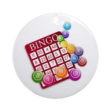 LAS VEGAS BINGO CARD AND BINGO BA ORNAMENT (ROUND)