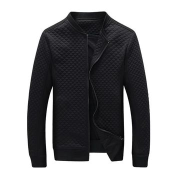Geometric Quilted Jacket Black