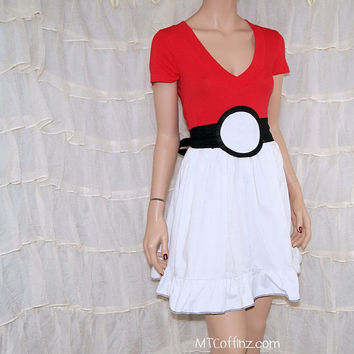 PokeBall V Neck Summer Sun Dress Cosplay Costume Adult Medium / Large MTCoffinz- Ready to Ship