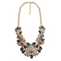 "Women's Fashion Statement Necklace with Stones - Multicolor (18"")"