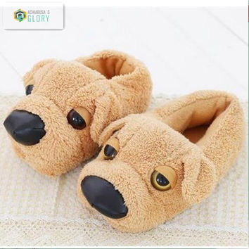 Winter  women cotton indoor Slippers For Men And Women Cotton-padded Dog Minion Slipper home Plush funny Animal shoes