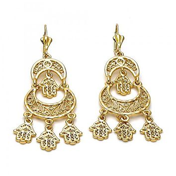 Gold Layered 5.112.008 Chandelier Earring, Hand and Hand of God Design, Diamond Cutting Finish, Golden Tone
